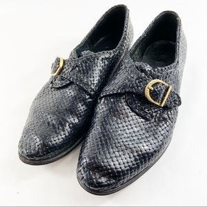 Bally Switzerland leather monk strap woven loafer